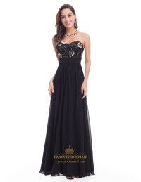 Black Strapless A-Line Long Prom Dress With Embroidery ...