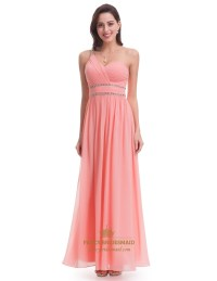 Coral One Shoulder A-Line Beaded Waist Long Chiffon ...