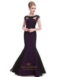 Dark Purple And Black Prom Dresses,Dark Purple Mermaid