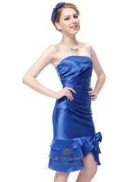 Short Blue Strapless Prom Dresses,Strapless Blue Cocktail ...