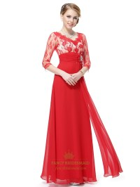 Red Prom Dresses Long Sleeves, Red Lace Prom Dresses With ...