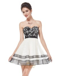 White Cocktail Dress With Black Lace Overlay,Strapless ...
