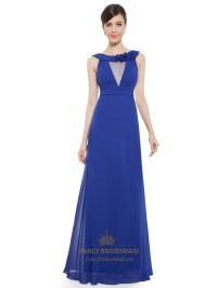 Sapphire Blue Chiffon Jewel Embellished Long Bridesmaid