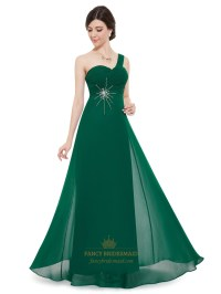 Emerald Green Chiffon One Shoulder Silver Embellishments ...