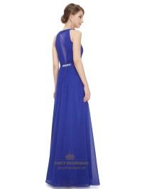 Deep V-Neck Ruched Bodice Sapphire Blue Chiffon Bridesmaid ...