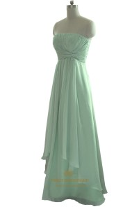 Mint Green Strapless Pleated Bodice Chiffon Bridesmaid ...