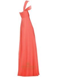 Coral One Shoulder Empire Long Chiffon Bridesmaid Dress ...