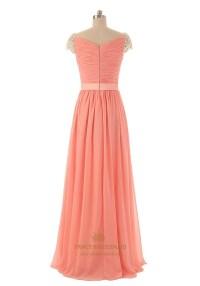 Coral Long Chiffon Cap Sleeves Bridesmaid Dress With Twist ...