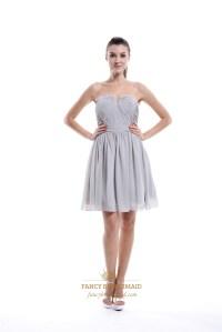 Light Grey Strapless Short Chiffon Bridesmaid Dress With ...
