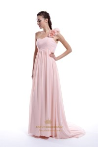 Pale Pink Chiffon One Shoulder Bridesmaid Dress With ...
