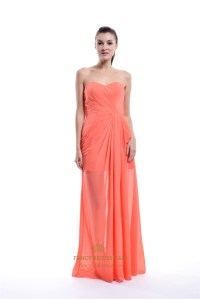 Coral Chiffon Short Bridesmaid Dress With Floor Length ...