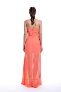 Coral Chiffon Short Bridesmaid Dress With Floor Length ...