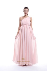 Pale Pink Chiffon One-Shoulder A-Line Long Bridesmaid ...