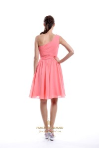 Coral One Shoulder Knee Length Pleated Chiffon Short ...