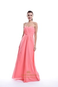 Coral Strapless Sweetheart Chiffon Bridesmaid Dress For ...