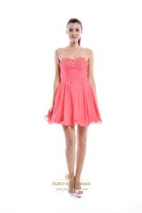 Coral Chiffon Short Embellished Strapless Bridesmaid Dress ...