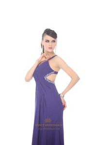 Purple Chiffon V Neck Empire Prom Dress With Cut Out Sides ...