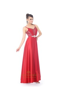 Red V-Neck Floor-Length Spaghetti Strap Prom Dress With ...