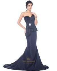 Navy Blue Taffeta Mermaid Sweetheart Floor-Length Prom ...