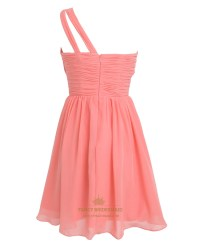 Coral One Shoulder Knee-Length Chiffon Bridesmaid Dress ...