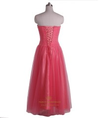 Watermelon A Line Strapless Tulle Prom Dress With Beaded