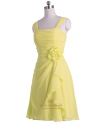 Yellow Short Crinkle Chiffon Pleated Bridesmaid Dress With ...