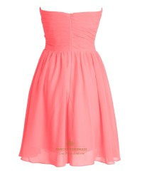 Coral Chiffon Short Strapless Sweetheart Bridesmaid ...