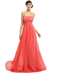 Coral Chiffon Strapless Empire Bridesmaid Dresses With ...