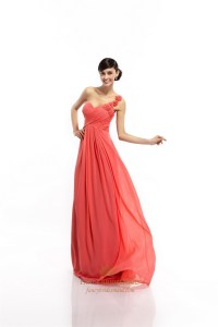 Coral Empire One Shoulder Chiffon Bridesmaid Dress With ...