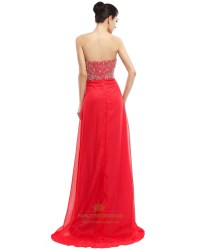 Red Sweetheart Long Chiffon Strapless Prom Dress With ...