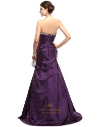Purple Mermaid Sweetheart Taffeta Prom Dresses With Beaded ...