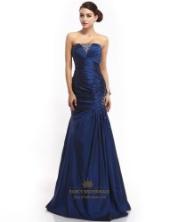 Sapphire Blue Taffeta Prom Dress With Stone Details And