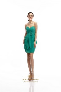 Green Chiffon Short Strapless Draped Bridesmaid Dress With ...