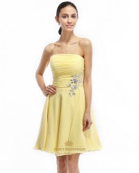 Yellow Strapless Short Chiffon Bridesmaid Dress With ...