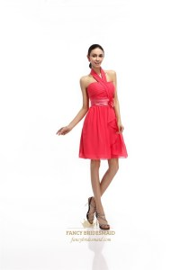 Coral Short Chiffon Halter Bridesmaid Dress With Front ...