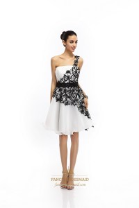 White One Shoulder Organza Knee Length Cocktail Dress With