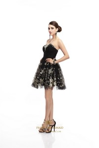 Black Strapless Sweetheart Tulle Cocktail Dress With ...
