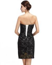 Black Strapless Lace Short Sheath Cocktail Dress With ...
