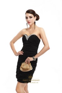 Black Strapless Sheath Cocktail Dress With Beaded ...