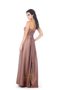 Chocolate Brown Satin Sweetheart Bridesmaid Dress With ...