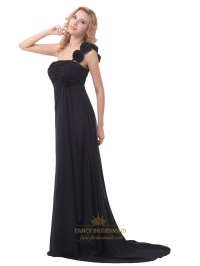 Black One Shoulder Chiffon Bridesmaid Dress With Flower ...