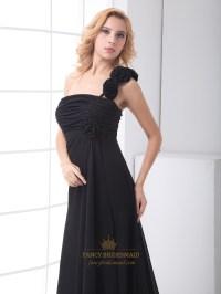 Black One Shoulder Chiffon Bridesmaid Dress With Flower ...