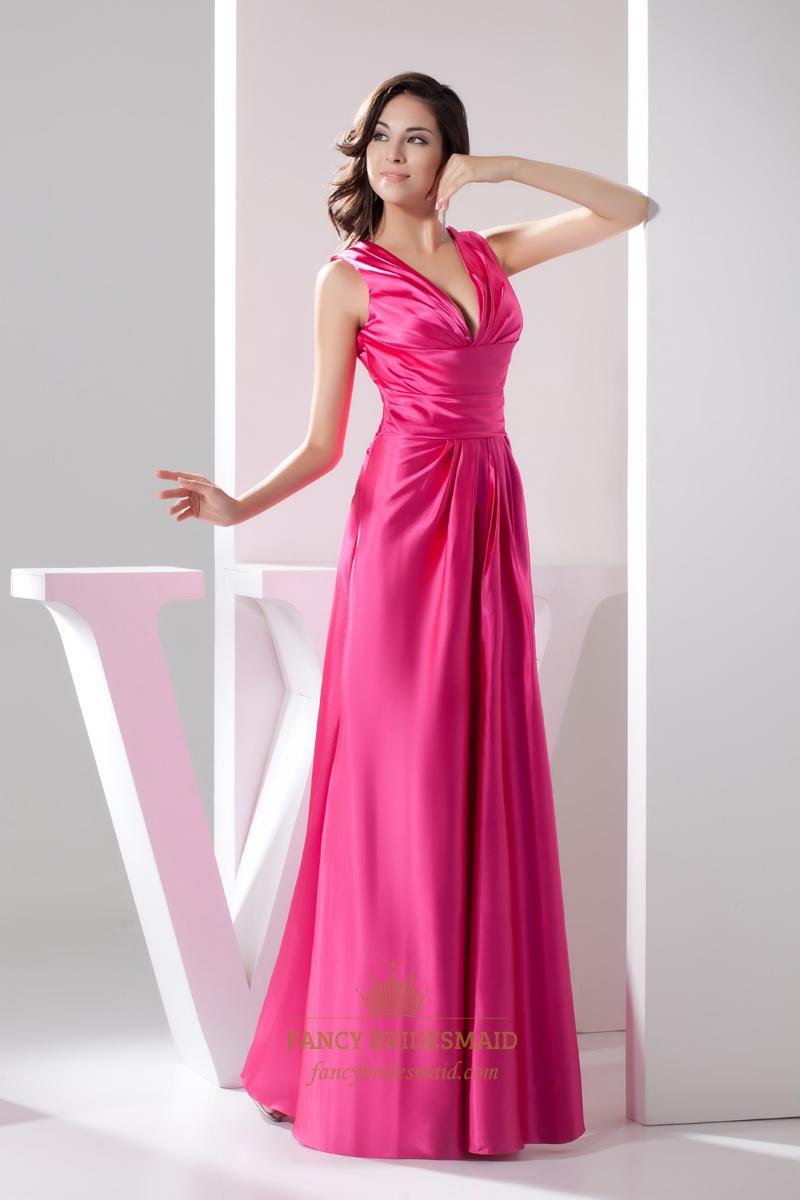 Elegant Hot Pink Satin Deep V Neck Sleeveless Dropped