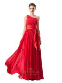 Red One Shoulder Chiffon Ruched Bridesmaid Dresses With ...