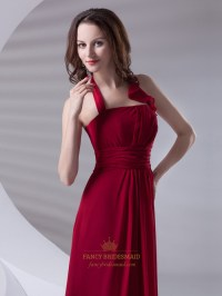 Red Chiffon Halter Floor Length Bridesmaid Dress With