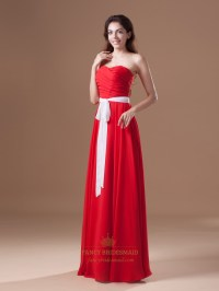 Red Chiffon Strapless Sweetheart Pleated Long Bridesmaid ...