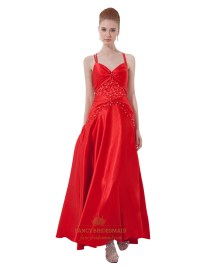 Red V Neck Spaghetti Strap Beaded Prom Dress With Criss ...