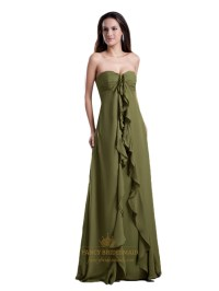 Olive Green Sweetheart Empire Bridesmaid Dresses With ...