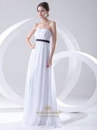 White Chiffon Strapless Empire Waist Bridesmaid Dress With ...