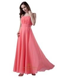Coral Strapless Chiffon Floor Length Bridesmaid Dresses ...